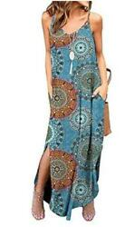 Kyerivs Women#x27;s Summer Casual Loose Dress Beach Cover Up Bohemian Size Large $9.99