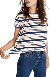 MADEWELL Whisper Victor Stripe Crew Neck Short Sleeve Tee Top Extra Small XS NEW $16.99