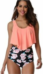 RuiXiang Swimsuits for Women High Waisted Tummy Control Orange Rose Size $13.99
