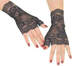 Orcle Women#x27;s Short Lace Gloves Fingerless for Driving Black#1 Size One Size x $13.99