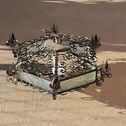 Vintage Antique Wrought Iron Gothic Medieval Hanging Chandelier Candle Holder $235.00