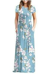 DEARCASE Women#x27;s Short Sleeve Loose Plain Maxi Dresses Casual Blue Size Small $12.00