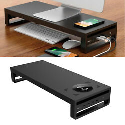 Metal Laptop PC Monitor Stand with Wireless Charger Riser Support Sturdy $89.02