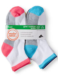 Wonder Nation Girls Socks 10 Pack Ankle Rainbow Contrast Sole SIZE L CH7 $8.99