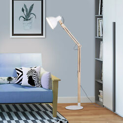 Modern Floor Lamp with White Shade Flexible Swing Arms Standing Light Adjustable $24.82
