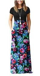DEARCASE Women#x27;s Short Sleeve Loose Plain Maxi Dresses Blue Size X Large z0Z2 $13.99