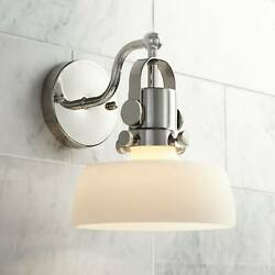 Modern Wall Light Sconce Nickel 9 1 2quot; Fixture Frosted Glass Bedroom Bathroom $69.99