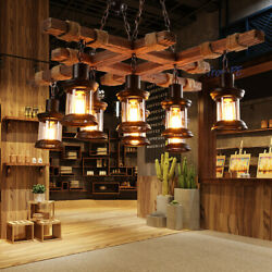 Rustic Wood 8 Lamps Chandelier Industrial Ceiling Lamp Pendant Light Hanging USA $134.00