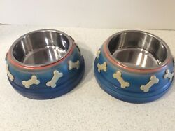 2 Resin Plastic Pet Bowls SMALL DOG Animal Water Food 5quot; Stainless Insert $5.99