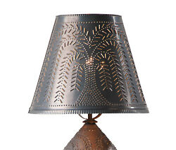 Primitive Country Rustic Farmhouse 14 Inch Kettle Black Tin Fireside Lamp Shade $49.95