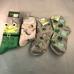 Lot 4 pairs Happy St Patricks Day Lucky Charm Rainbow Novelty Socks Women's $9.99