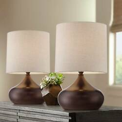 Mid Century Modern Accent Table Lamps Set of 2 Brown Steel Droplet Drum Shade $59.99