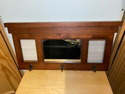 Fetco Wall Mounted Wooden 3 Coat Rack Built in Mirror amp; 2 Photo Frames 22.5quot;L $42.00