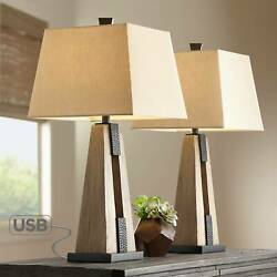 Rustic Farmhouse Table Lamps Set of 2 with USB Wood Oatmeal Shade Living Room $119.95