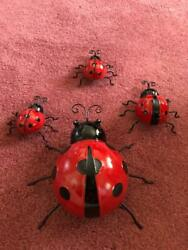 4 HANGING LADY BUGS MADE OF METAL 2 SMALL 1 MEDIUM 1 LARGE NEW. $15.99