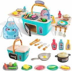 Kids Picnic Kitchen Food Cooking Playset Toys w Music Light Color Changing oven $22.99