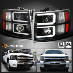 Black For 2007 2014 Chevy Silverado 1500 2500 3500 LED Bar Projector Headlights