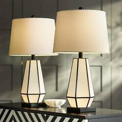 Modern Table Lamps Set of 2 with Night Light Bronze White Living Room Bedroom $139.95