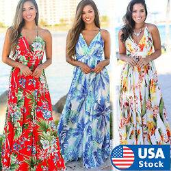 Women Floral Sexy Backless Evening Party Beach Long Maxi Dresses Boho Sundress $14.98