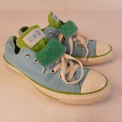 Converse All Star Womens Sz 8 Light Blue Green Tongue Canvas Low Top Sneakers $24.99