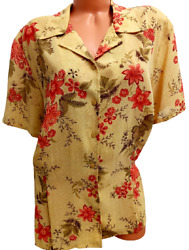 Emma Jones beige red floral short sleeves plus size buttoned down sheer top 24W $14.99