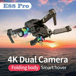 E88 Pro WIFI FPV Quadcopter With Fordable Wide Angle HD 4K Dual Camera Drone RC $59.97