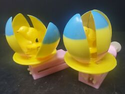 TWO Easter Novelty Magic Spinning Egg Plastic Mechanical Toy $8.04