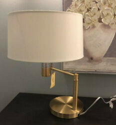 NEW Ralph Lauren Signature Swing Arm Brass Table Lamp Weighted Base With Shade $185.00