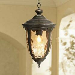 Rustic Outdoor Ceiling Light Bronze 18quot; Hammered Glass for Exterior Entryway $149.99