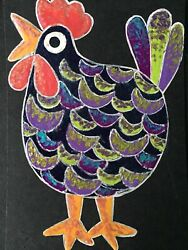 Original Painted ACEO Art Card 2.5 x 3.5 Signed Whimsical Chicken $6.99