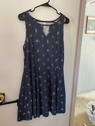 Mudd Women Navy Blue Dress w floral design Size XL