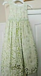 MARMELLATA Easter Party Girls Lime Green White Flowers Sleeveless Dress size 6 $17.00