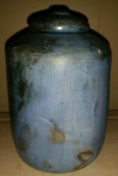 Rare French Mint Art Deco Lidded Urn Hand Thrown Wood fired Blue Glaze Signed $600.00