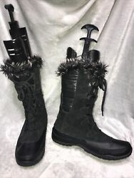 NORTH FACE WATERPROOF WOMENS BOOTS BLACK LEATHER FUR LACE UP SIZE 10.5 $26.00
