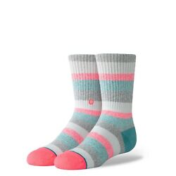 Stance Girls Pink Crew Cotton Cushioned Striped All That Kids Socks M 11 1 NEW $12.71