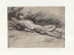 Signed amp; Matted Intaglio Print: Nude Male Dreaming on archival paper 12 of 15 $20.00