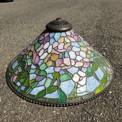 Tiffany Studios Reproduction Slag Stained Glass Hanging Lamp Shade Chandelier $1350.00