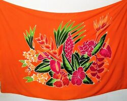 Sarong Hand Painted Bali Orange Floral Pareo Dress Skirt Beach Cover Up Wrap $20.49