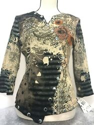 Women's Floral Boho Chic Long Sleeve Embellished Top Tee Pullover Shirt Zs M NWT $18.99