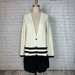 Angel of the North Womens Cardigan Ivory Black Collegiate Tunic Size Medium $40.00