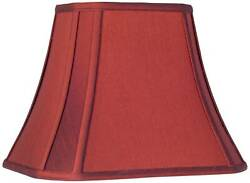Crimson Red Cut Corner Lamp Shade Traditional Silk Fabric 6 8x11 14x11 Spider $29.99
