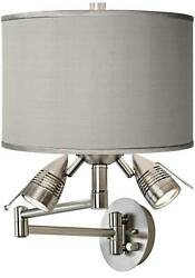 Modern Swing Arm Wall Lamp LED Nickel Plug In Fixture Gray Faux Silk for Bedroom $169.99