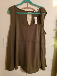 NWT Anthropologie Pure Good Tie Shoulder Tank Sz Large XL Boho $29.00