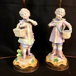 Pair of Vintage Brass Lamps with Girl and Boy Figurine Gathering GC $59.50
