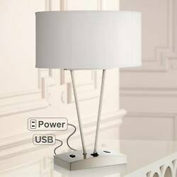 Modern Table Lamp with USB and AC Power Outlet in Base Silver for Bedroom Office $119.95