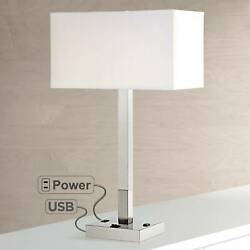 Modern Table Lamp with USB Outlet Column White Shade for Living Room Bedroom $119.99