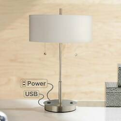 Modern Table Lamp with USB Outlet Silver Slim Profile for Living Room Bedroom $99.95