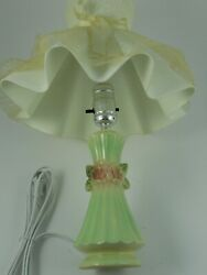 Antique vintage bedroom lamp with plastic lace shade $29.99