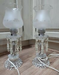 Vintage Glass Lamps with Prisms Matching set of 2EUC Bedside Works $85.00