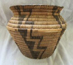 Rare Papago Indian Hand Woven Basket Antique With Native Designs $146.00